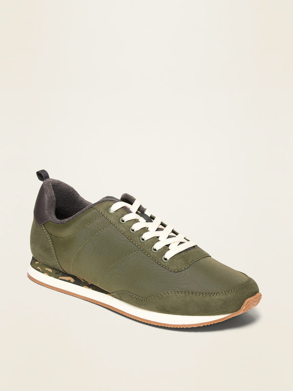 ON Nylon/Faux-Suede Track Sneakers For Men - Olive Camo