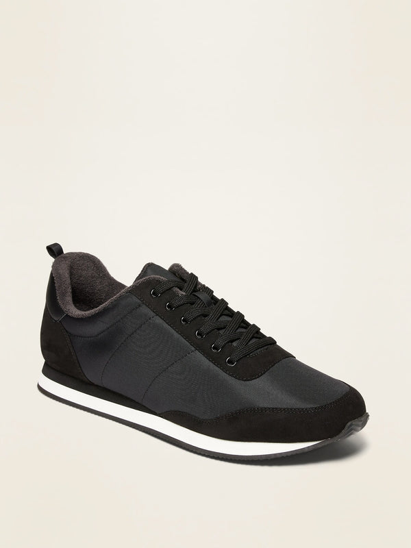 ON Nylon/Faux-Suede Track Sneakers For Men - Black Jack