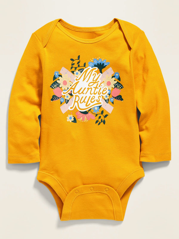ON Unisex Graphic Long-Sleeve Bodysuit For Baby - Aunt
