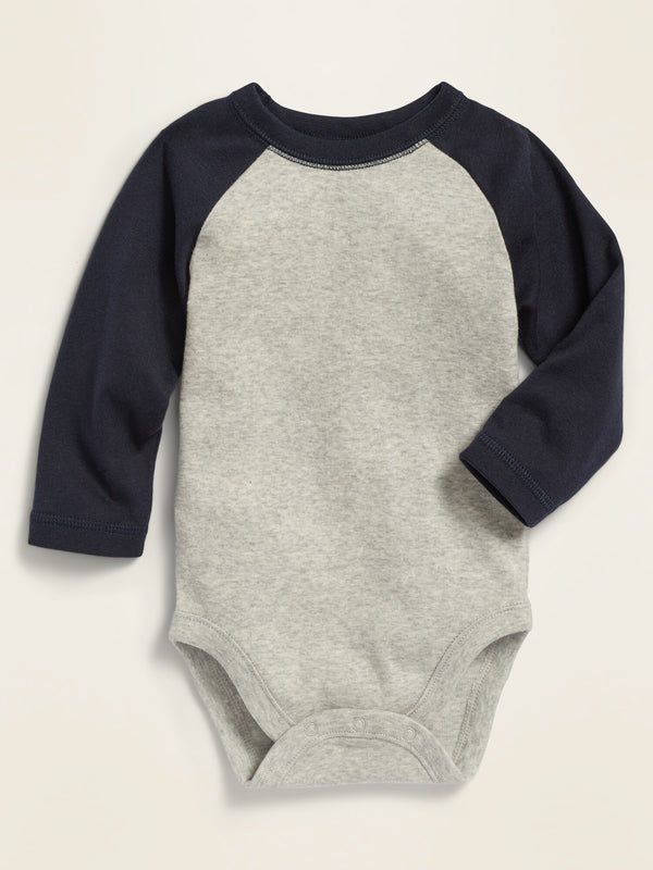 ON Unisex Color-Blocked Raglan-Sleeve Bodysuit For Baby - In The Navy