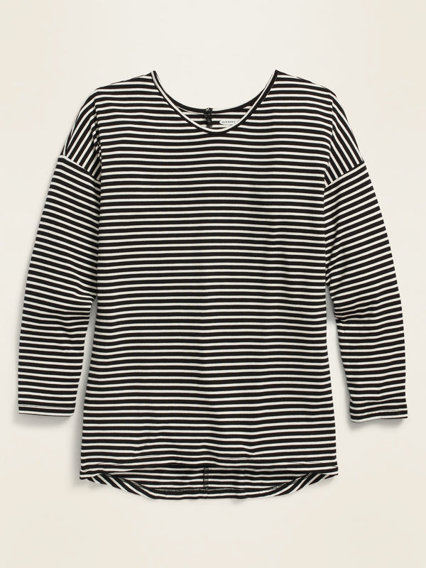 ON Luxe Drop-Shoulder Striped Voop-Neck Top For Girls - Black Stripes