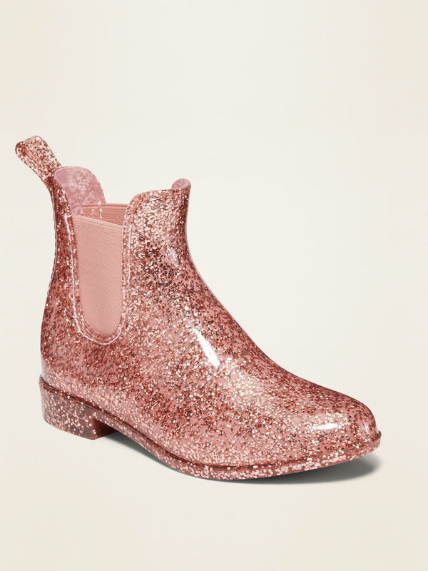 ON Vinyl Chelsea Rain Boots For Girls - Rose Gold