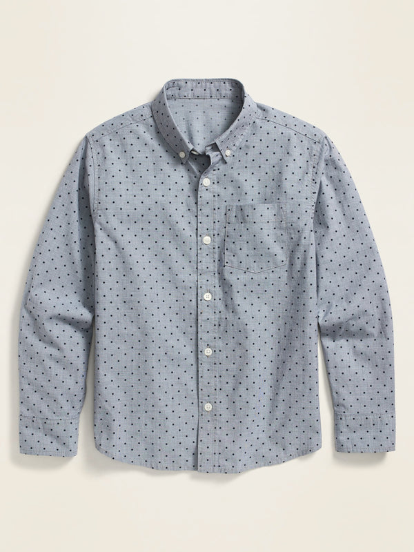 ON Built-In Flex Printed Long-Sleeve Shirt For Boys - Blue Dots