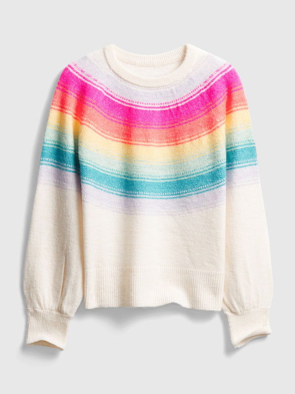 Gap Kid Yoke Rainbow Stripe Crewneck Sweater - Ivory Frost