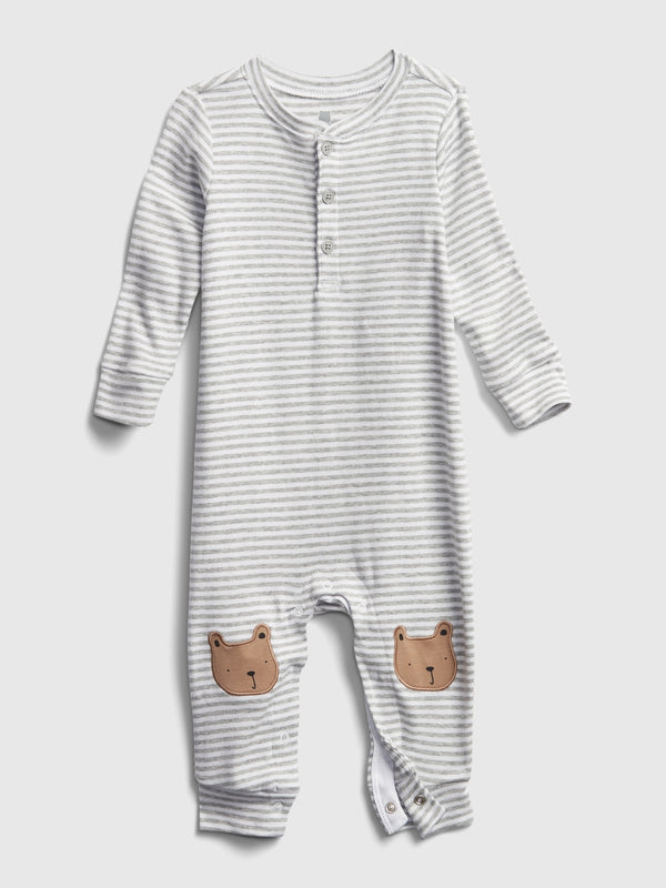 Gap Baby First Favorite Henley One-Piece - Light Heather Grey