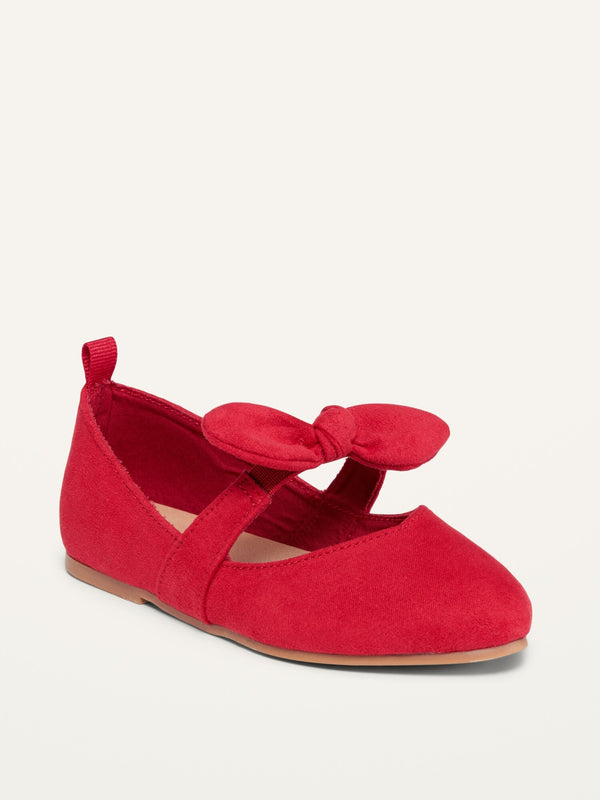 ON Faux-Suede Pointy-Toed Bow-Tie Flats For Toddler Girls - Robbie Red