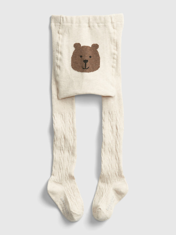 Gap Toddler Bear Cable Knit Tights - Oatmeal Heather