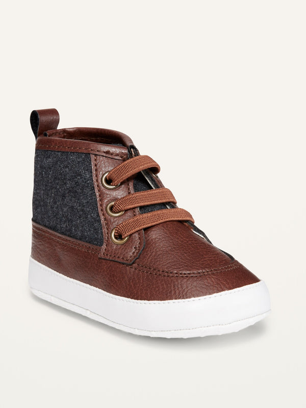 ON Faux-Leather Color-Blocked Booties For Baby - Tannin Brown