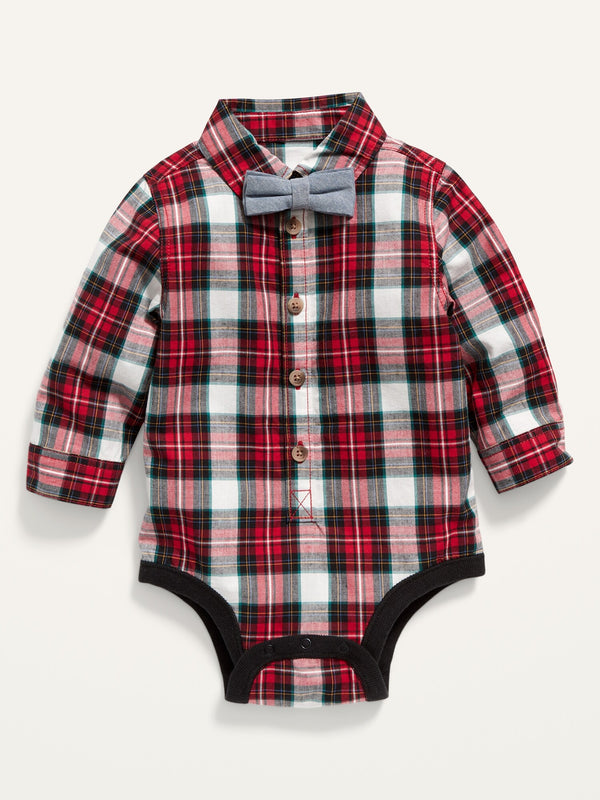 ON Long-Sleeve Plaid Poplin Bodysuit And Bow-Tie For Baby - Red Plaid
