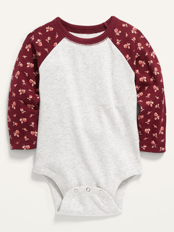 ON Color-Blocked Raglan-Sleeve Bodysuit For Baby - Burgundy Combo