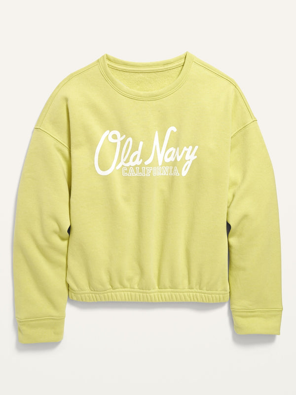 ON Logo-Graphic Cinched-Hem Sweatshirt For Girls - Citrine