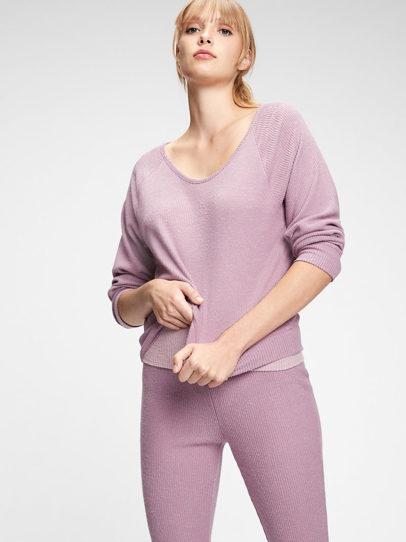 Gap Softspun Ribbed Pullover - Elderberry