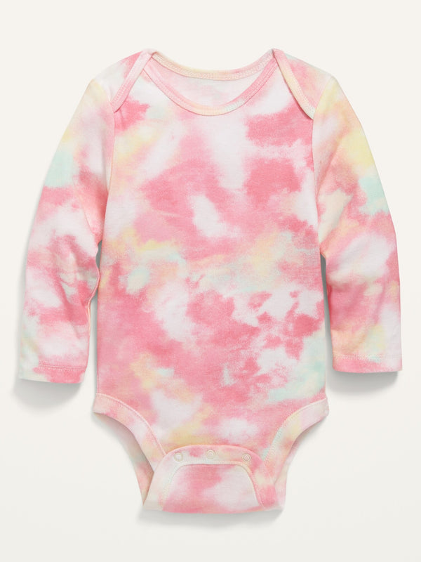 ON Printed Long-Sleeve Bodysuit For Baby - Warm Tie Dye
