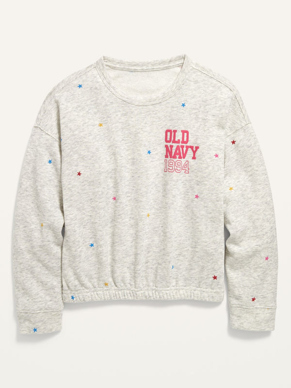 ON Logo-Graphic Cinched-Hem Sweatshirt For Girls - Grey Stars