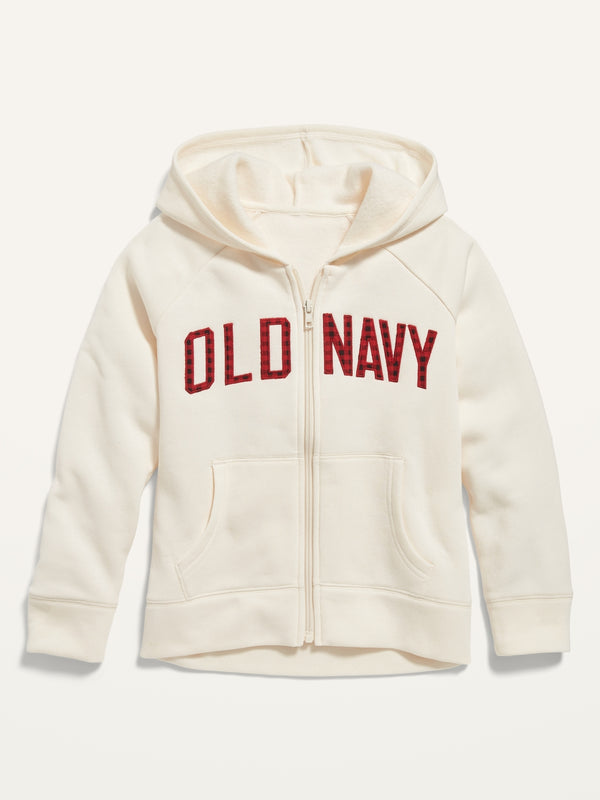 ON Logo-Applique Zip Hoodie For Girls - Creme De La Creme
