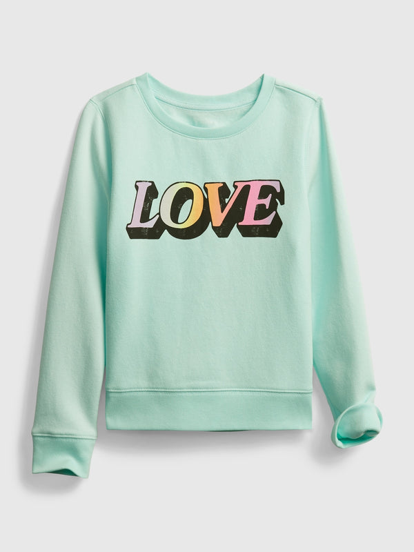 Gap Kids Recycled Graphic Crewneck Sweatshirt - Soft Jade
