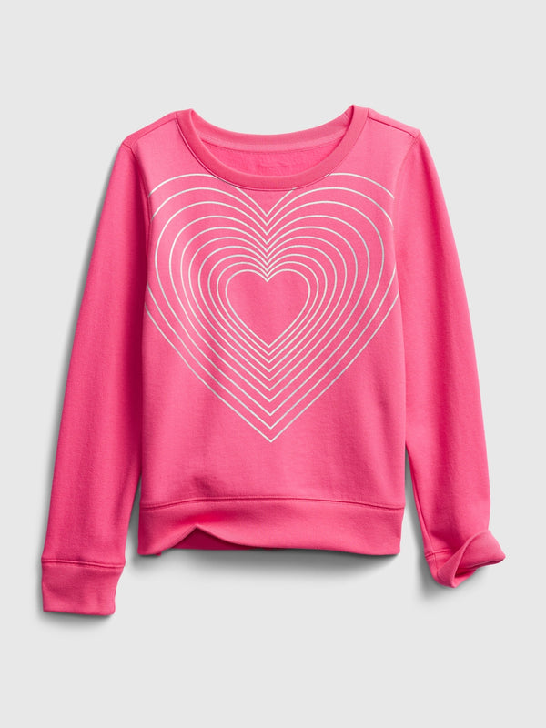 Gap Kids Recycled Graphic Crewneck Sweatshirt - Neon Pink Rose