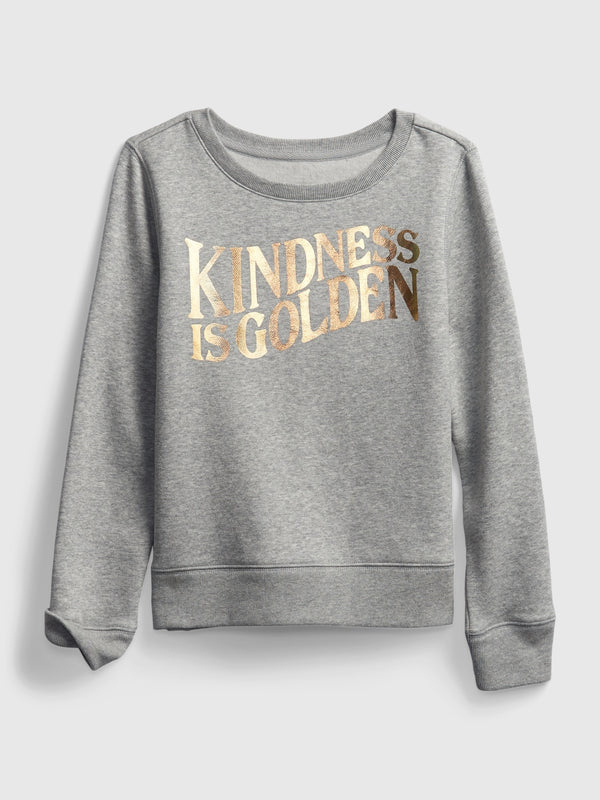 Gap Kids Recycled Graphic Crewneck Sweatshirt - Light Heather Grey