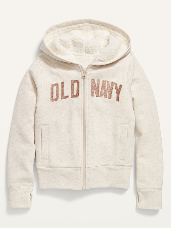 ON Cozy Sherpa-Lined Zip Hoodie For Girls - Oatmeal Heather