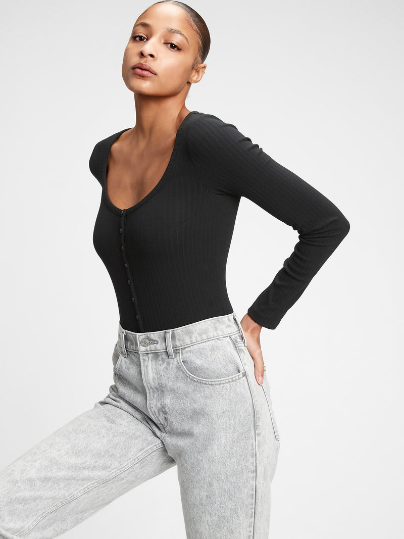 Gap Henley Bodysuit - True Black