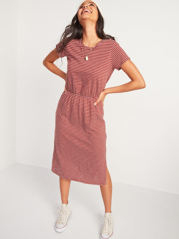 ON Waist-Defined Slub-Knit Midi T-Shirt Dress - Red Stripe