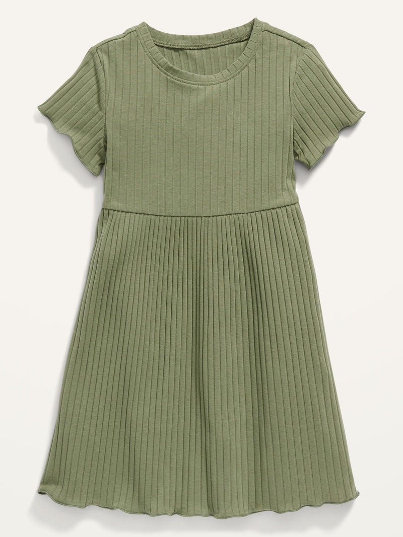 ON Solid Rib-Knit Lettuce-Edged Dress For Toddler Girls - Olive Through This