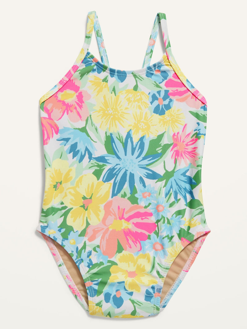 ON One-Piece Bow-Tie Swimsuit For Toddler Girls - Multifloral