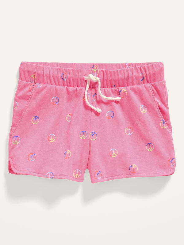 ON Printed Dolphin-Hem Jersey Shorts For Girls - Peace Signs