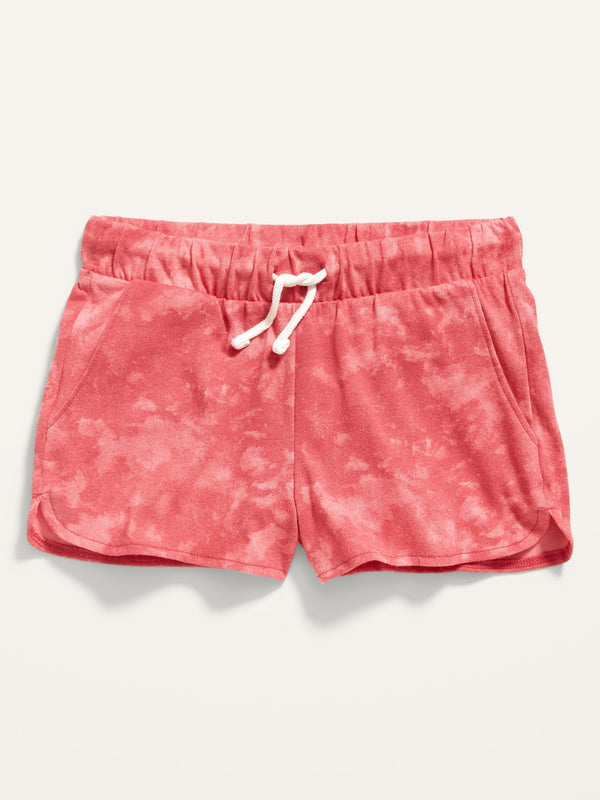 ON Printed Dolphin-Hem Jersey Shorts For Girls - Pink Tie Dye