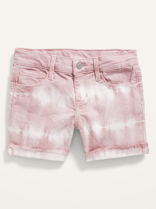 ON Tie-Dye Frayed-Hem Jean Midi Shorts For Girls - Wild Geranium