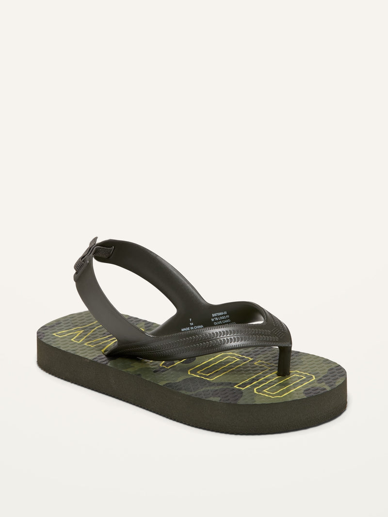 ON Printed Flip-Flops For Toddler Boys - Olive Camo