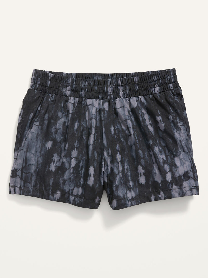 ON Go-Dry Cool Printed Dolphin-Hem Run Shorts For Girls - Black Wash F