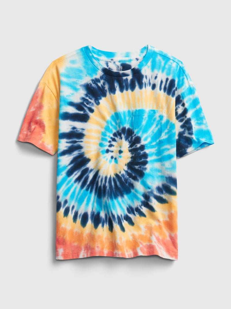 Gap Teen Boy  Organic Cotton Pocket T-Shirt  - Yellow Tie Dye