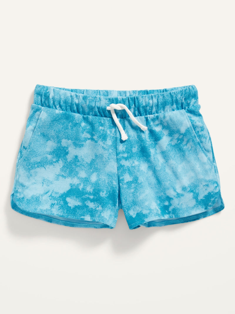 ON Printed Dolphin-Hem Jersey Shorts For Girls - Blue Veil Tie Dye