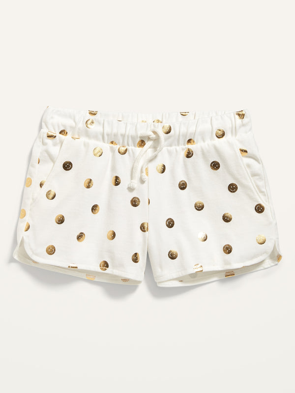 ON Printed Dolphin-Hem Jersey Shorts For Girls - Smiley Yellow