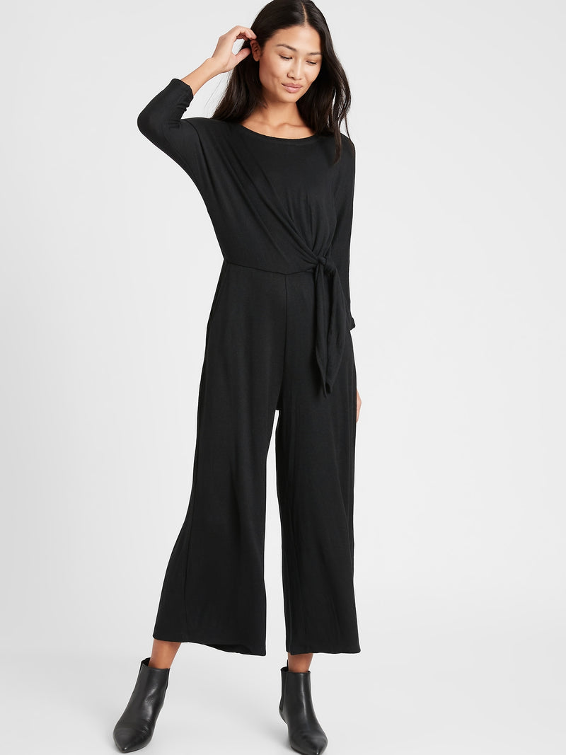 BR Petite Cozy Ribbed Dolman-Sleeve Jumpsuit - Black