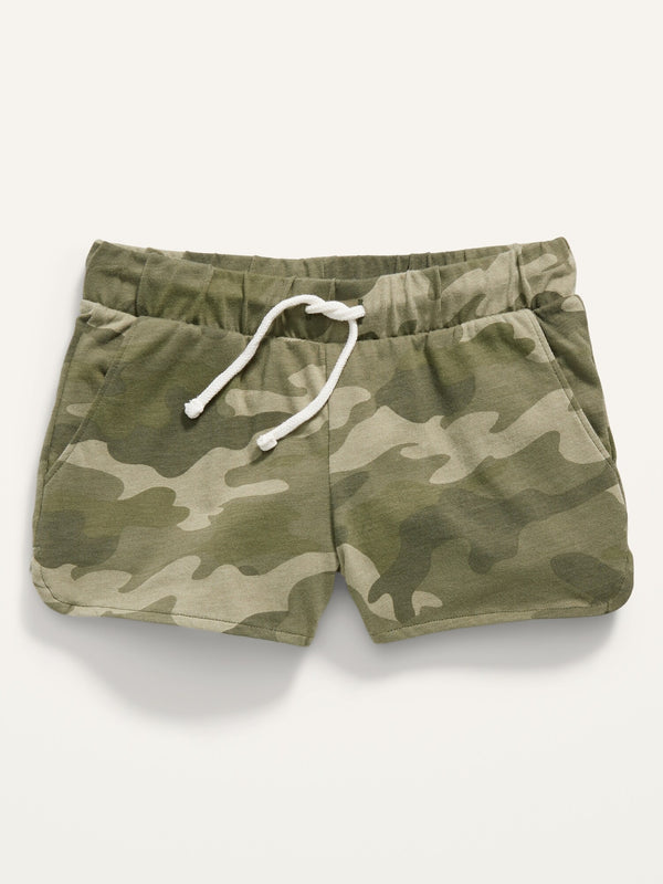 ON Printed Dolphin-Hem Jersey Shorts For Girls - Green Camo