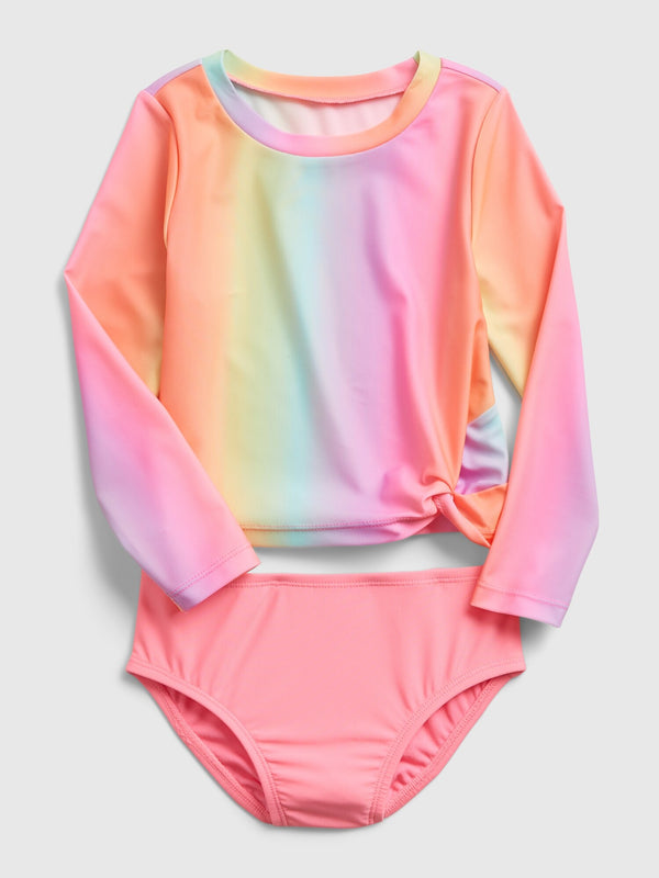 Gap Toddler Recycled Two-Piece Swim Rash Guard - Ombre Gradient Coral