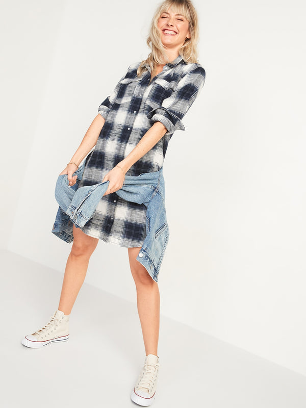ON Plaid Flannel Western Shirt Dress For Women - Navy Plaid