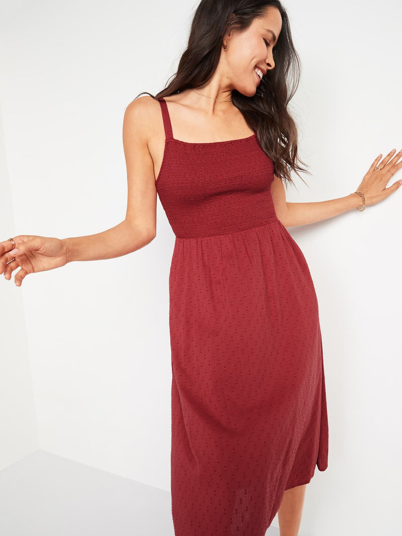 ON Smocked Textured Clip-Dot Fit & Flare Cami Midi Dress For Women - Myrrh