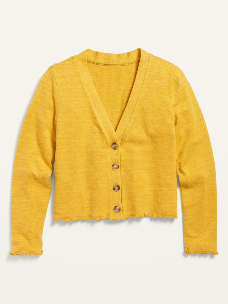 ON Cropped Plush-Knit Button-Front Cardigan Sweater For Girls - Squash