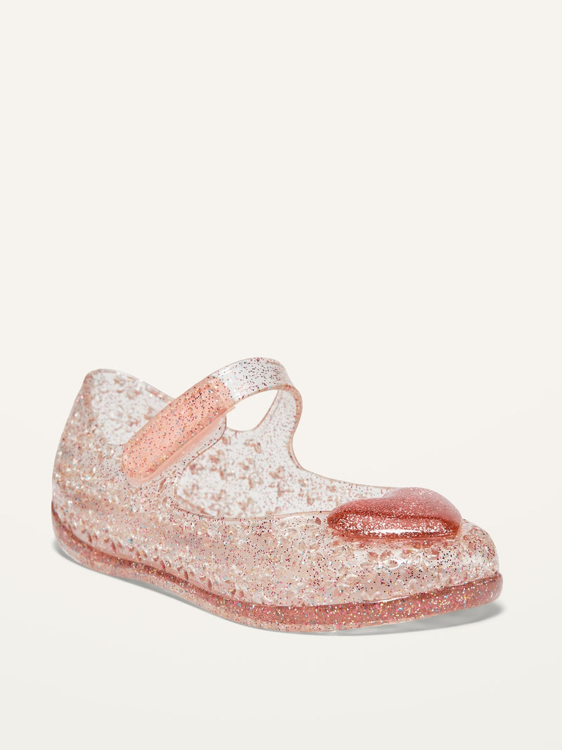 ON Glitter-Jelly Mary-Jane Flats For Toddler Girls - Heart