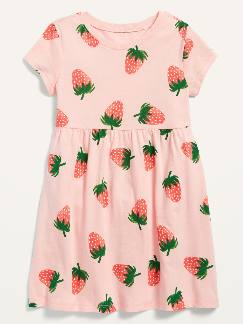 ON Fit & Flare Short-Sleeve Jersey Dress For Toddler Girls - Strawberry Field