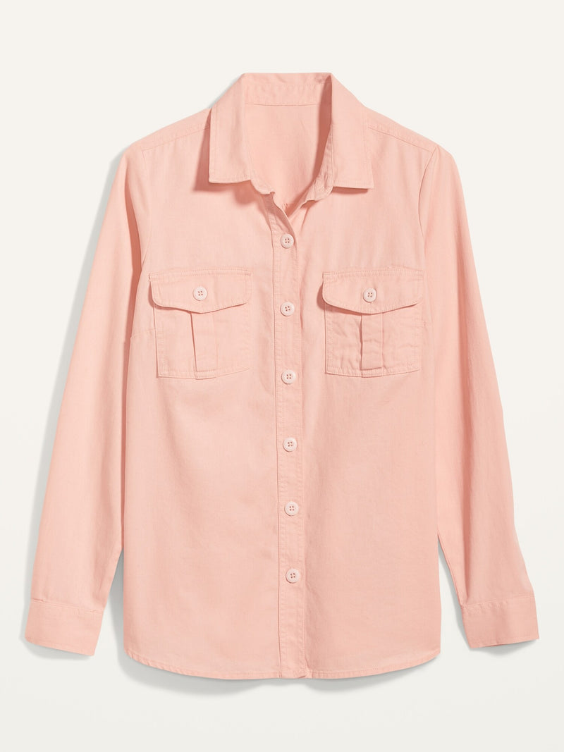 ON Twill Utility-Pocket Tunic Camp Shirt For Women - Peach Wren