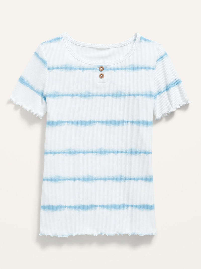 ON Rib-Knit Short-Sleeve Henley For Girls - Blue Tie