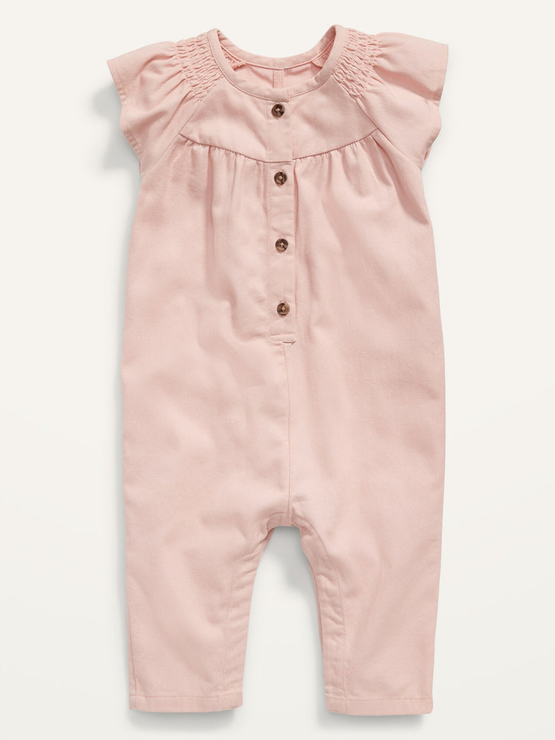 ON Smocked Twill Utility Jumpsuit For Baby - Pink Bamboo