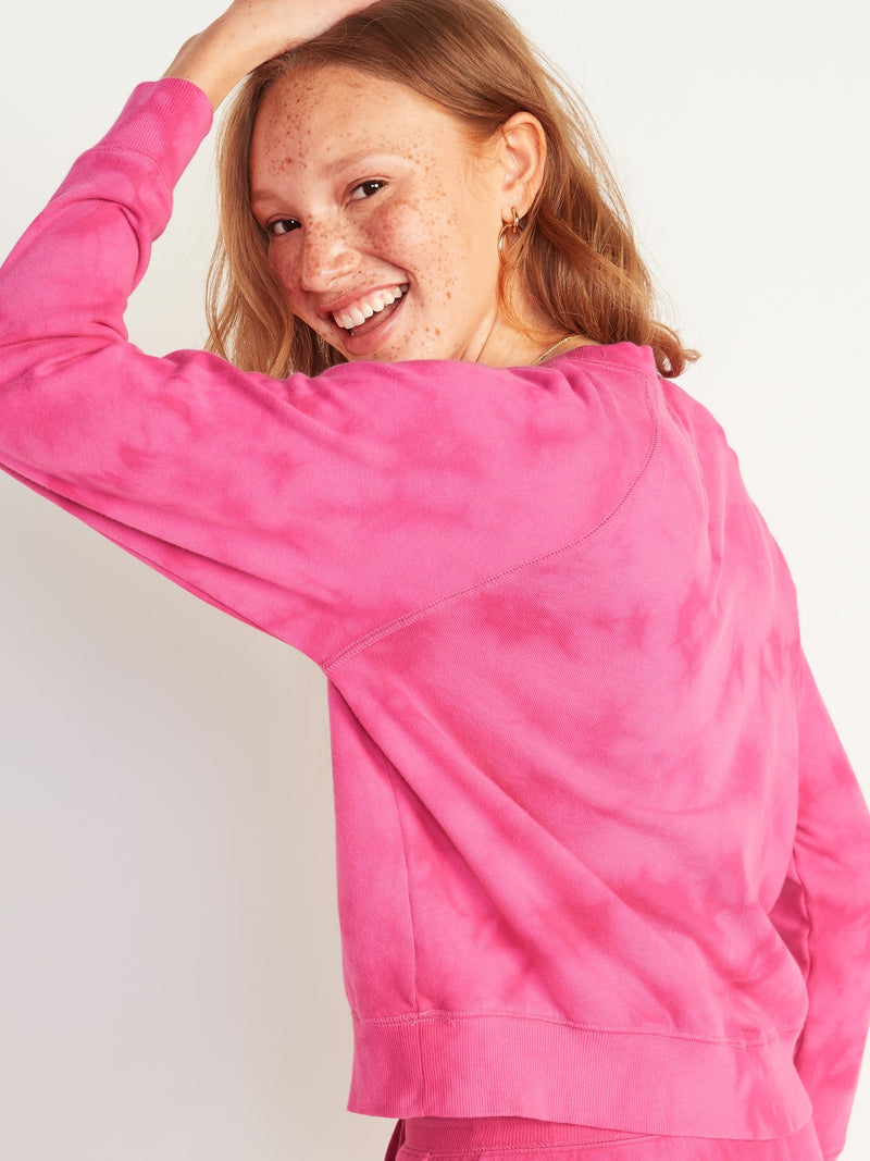 ON Vintage Specially Dyed Crew-Neck Sweatshirt For Women - Hot Pink Tie Dye