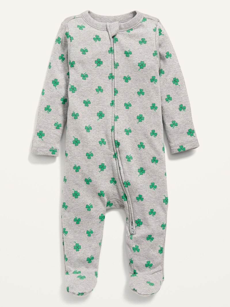 ON St. Patrick'S Day Shamrock-Print Footed One-Piece For Baby