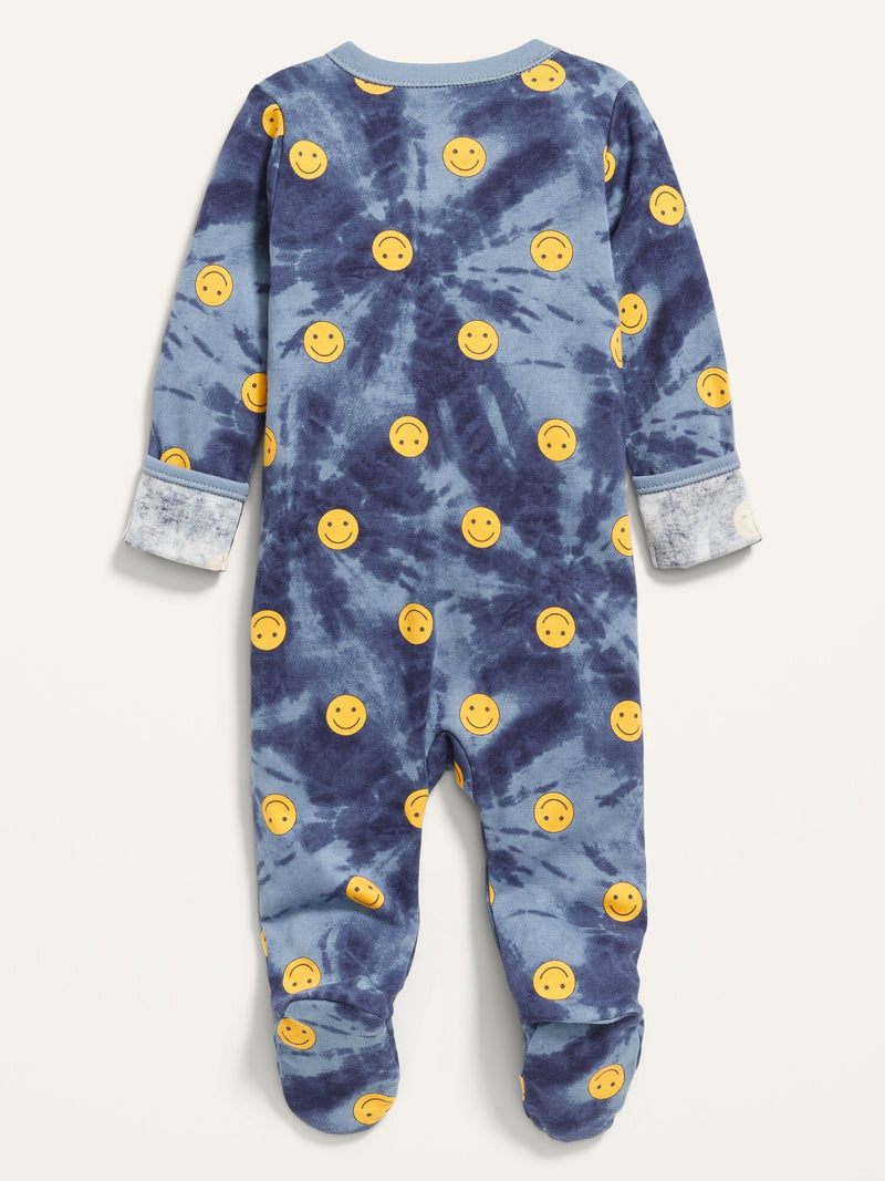 ON Printed Fold-Over Mitten Footed One-Piece For Baby - Smiley Yellow