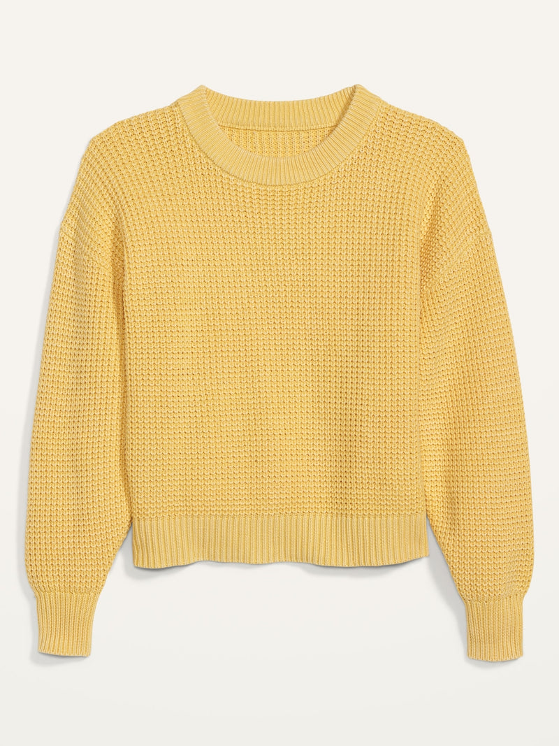 ON Acid-Wash Shaker-Stitch Button-Front Cardigan Sweater For Women - Yellow
